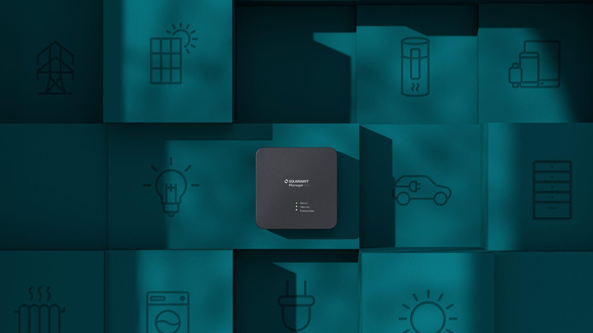 solarwatt energiemanager manager flex met icons op de achtergrond